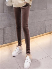 Womens Fall High Waist Velvet Casual Leggings - Brown / S - Womens Bottoms