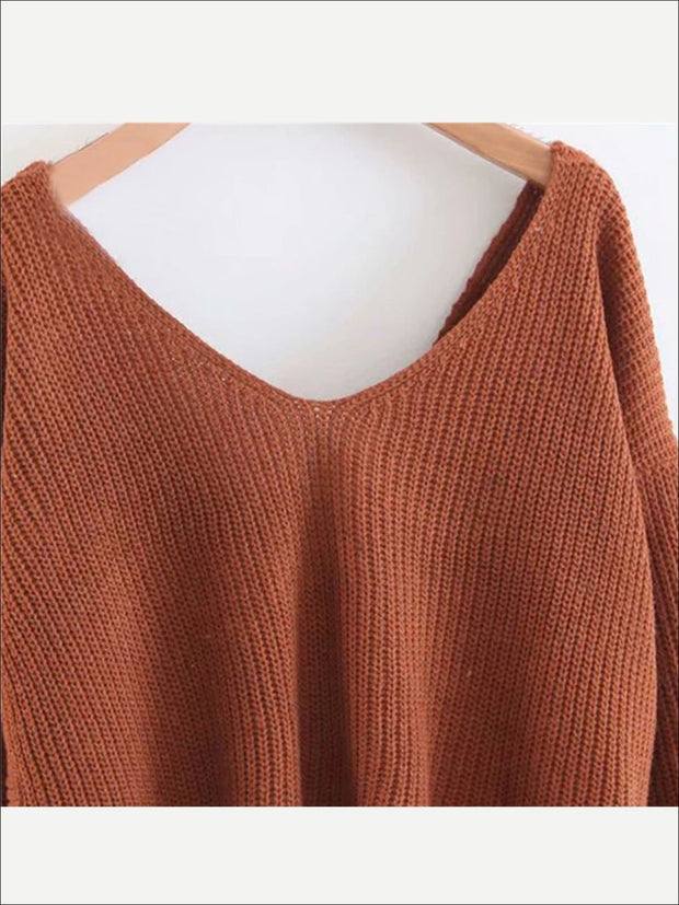Womens Fall Knit Casual V-Neck Sweater - Womens Fall Sweaters