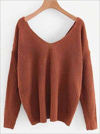 Womens Fall Knit Casual V-Neck Sweater - Brown / One Size - Womens Fall Sweaters