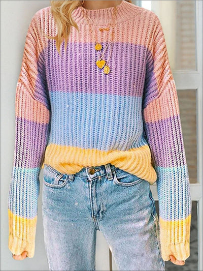 Womens Fall Knit Colorful Striped Sweater - Womens Fall Sweaters