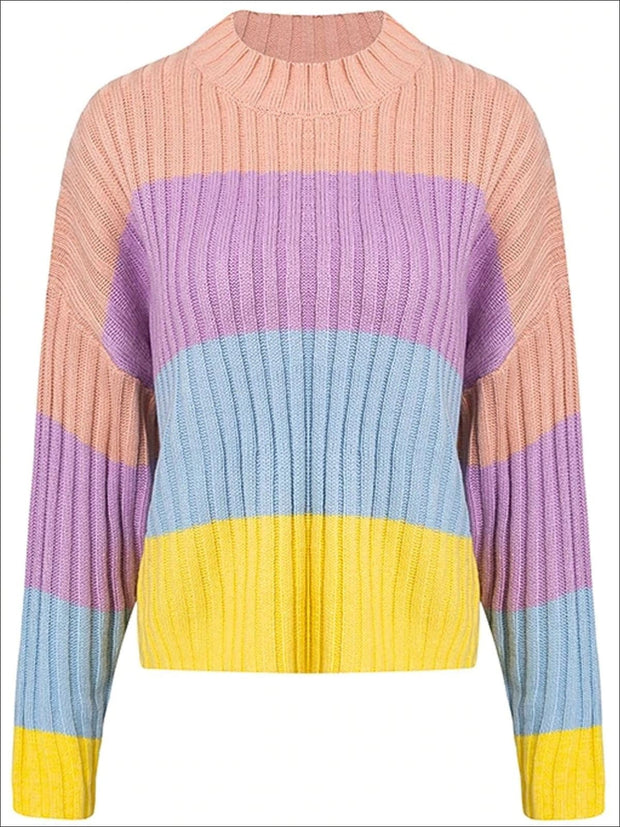 Womens Fall Knit Colorful Striped Sweater - Multicolor Stripe / One Size - Womens Fall Sweaters