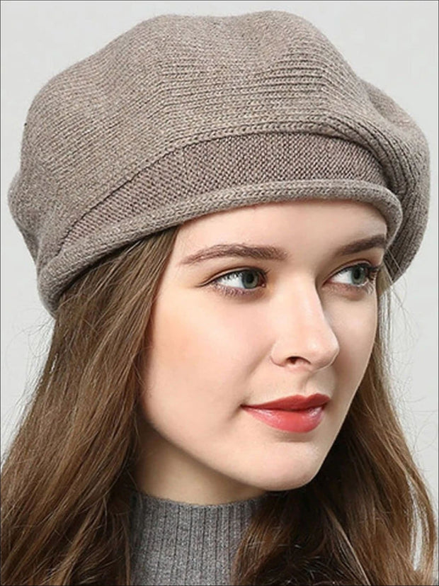 Womens Fall Knit Fashion Beret Cap - Brown - Womens Accessory