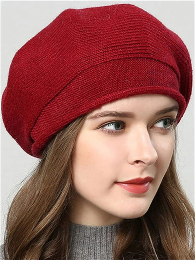 Womens Fall Knit Fashion Beret Cap - Red - Womens Accessory
