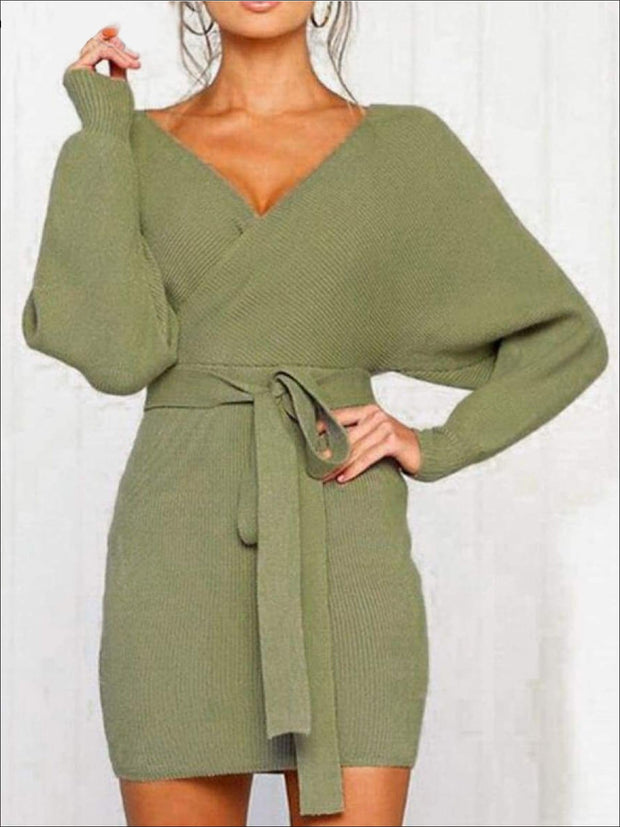 Womens Fall Knit Fashion Wrap Sweater Dress - Womens Fall Dresses
