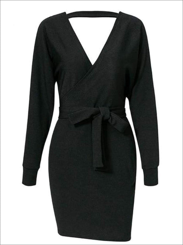 Womens Fall Knit Fashion Wrap Sweater Dress - Black / S - Womens Fall Dresses