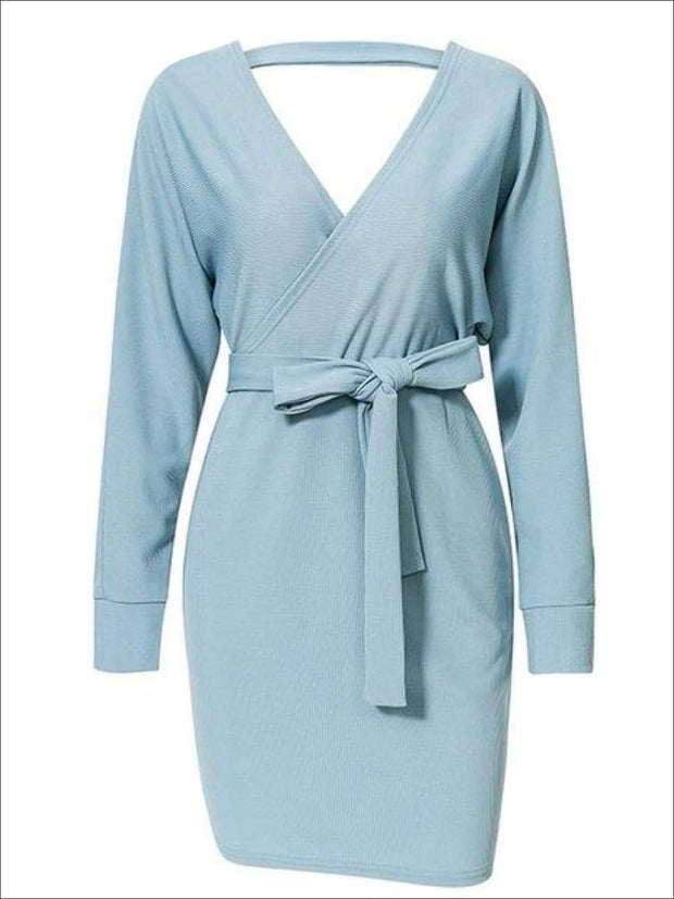 Womens Fall Knit Fashion Wrap Sweater Dress - Blue / S - Womens Fall Dresses