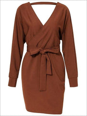Womens Fall Knit Fashion Wrap Sweater Dress - Brown / S - Womens Fall Dresses