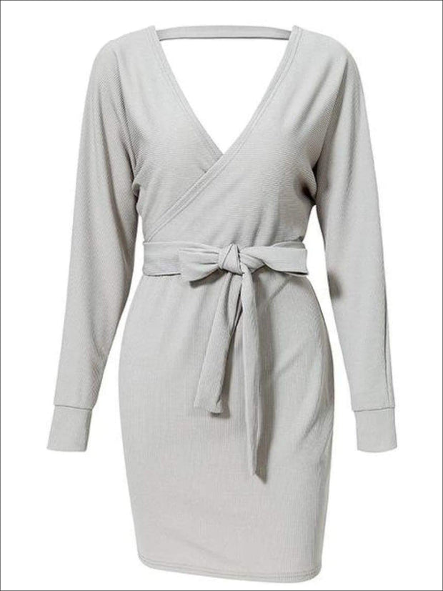 Womens Fall Knit Fashion Wrap Sweater Dress - Gray / S - Womens Fall Dresses
