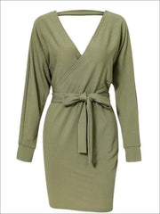 Womens Fall Knit Fashion Wrap Sweater Dress - Green / S - Womens Fall Dresses