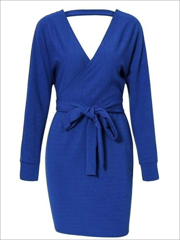 Womens Fall Knit Fashion Wrap Sweater Dress - Royal Blue / S - Womens Fall Dresses