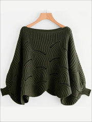 Womens Fall Knit Oversized Boat Neck Sweater - Green / S - Womens Fall Sweaters