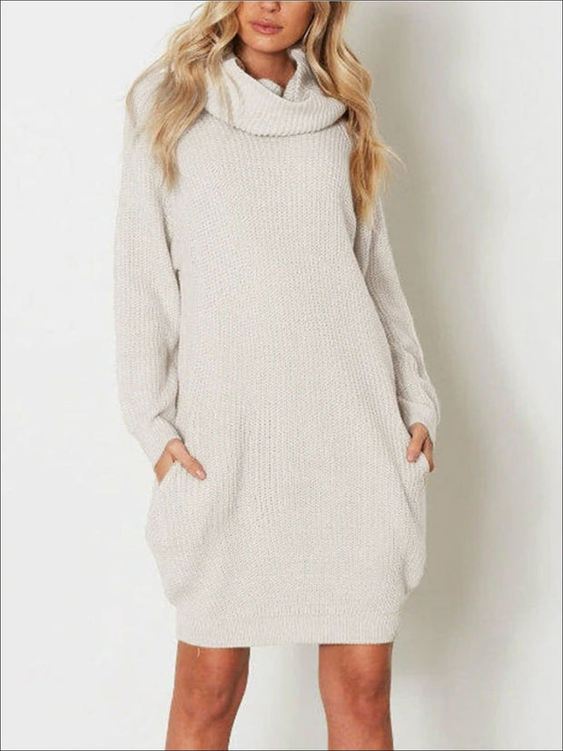 Womens Fall Knit Sweater Dress With Side Pockets - Womens Fall Dresses