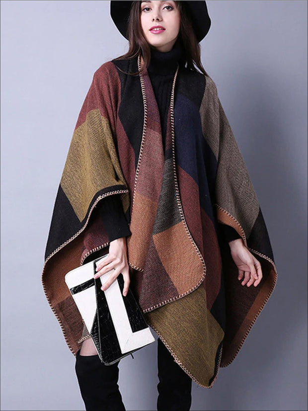 Womens Fall Knitted Color-Block Cardigan - Womens Fall Outerwear
