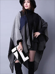 Womens Fall Knitted Color-Block Cardigan - Black / One - Womens Fall Outerwear