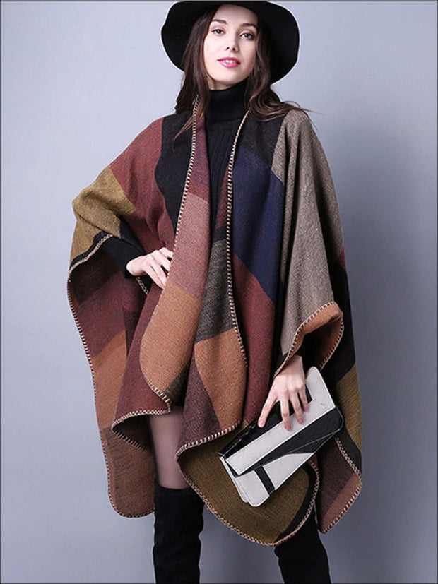 Womens Fall Knitted Color-Block Cardigan - Brown / One - Womens Fall Outerwear
