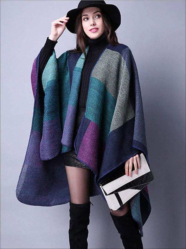 Womens Fall Knitted Color-Block Cardigan - Purple / One - Womens Fall Outerwear
