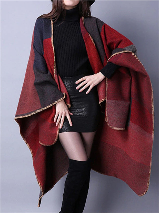 Womens Fall Knitted Color-Block Cardigan - Red / One - Womens Fall Outerwear