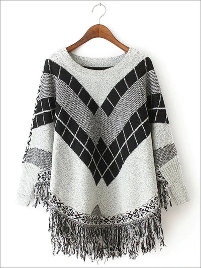 Womens Fall Knitted Fringe Sweater - Grey / One - Womens Fall Sweaters