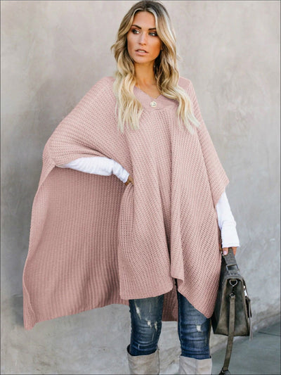 Womens Fall Knitted Pullover Poncho - Womens Fall Outerwear