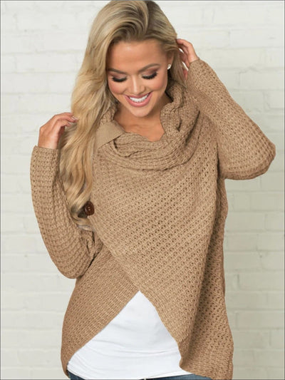 Womens Fall Knitted Turtleneck Sweater Poncho - Womens Sweater