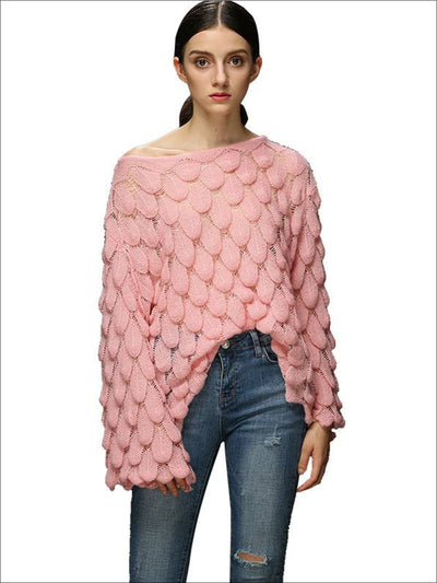 Womens Fall Macrame Over-Sized Pullover Sweater - Pink / One - Womens Fall Sweaters