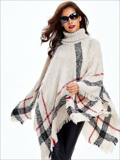 Womens Fall Plaid Turtleneck Fringe Poncho - White / One - Womens Fall Outerwear