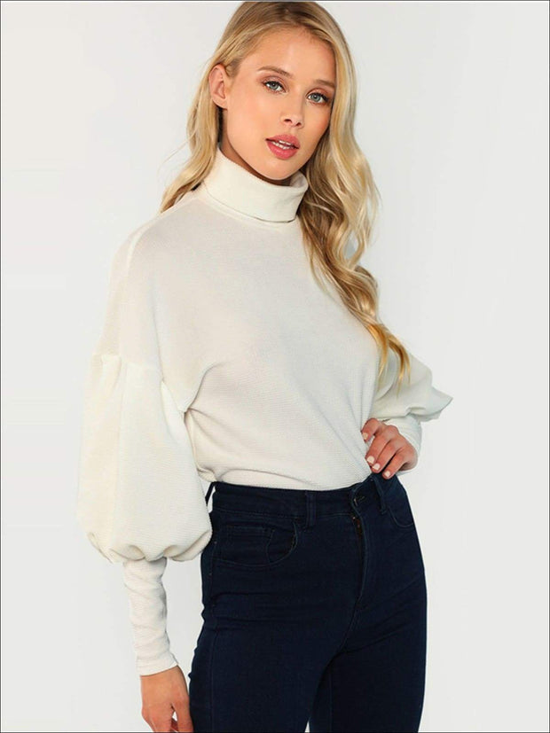 Womens Fall Puffy Sleeve Turtleneck Sweater - Womens Fall Sweaters