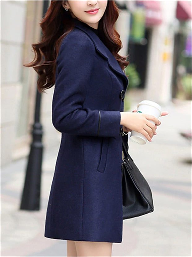 Womens Fall Slim Fit Cashmere Pea Coat - Womens Fall Outerwear
