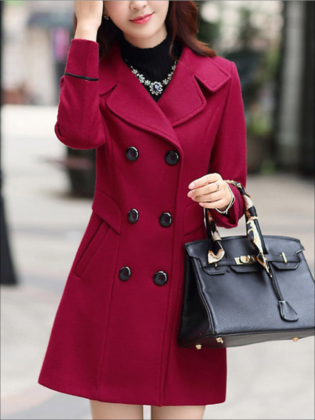 Womens Fall Slim Fit Cashmere Pea Coat - Burgundy / M - Womens Fall Outerwear