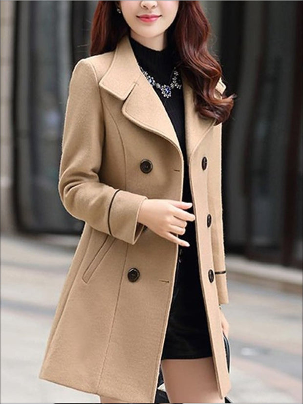 Womens Fall Slim Fit Cashmere Pea Coat - Khaki / M - Womens Fall Outerwear