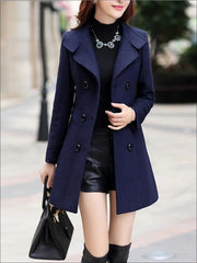 Womens Fall Slim Fit Cashmere Pea Coat - Navy Blue / M - Womens Fall Outerwear