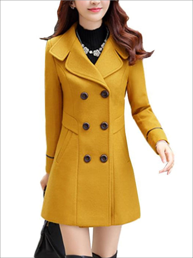 Womens Fall Slim Fit Cashmere Pea Coat - Yellow / M - Womens Fall Outerwear