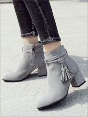 Womens Fall Square Heel Tassel Boots - Womens Boots