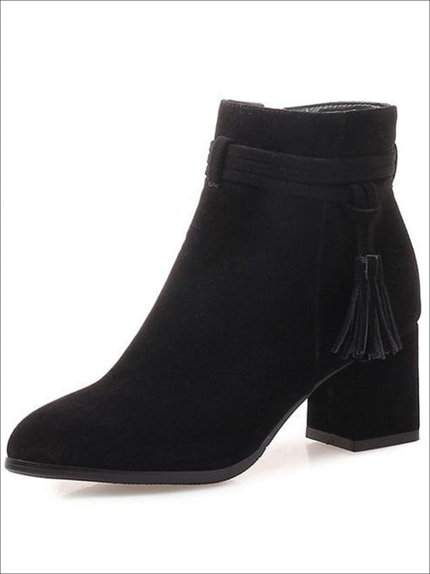 Womens Fall Square Heel Tassel Boots - Black / 3 - Womens Boots