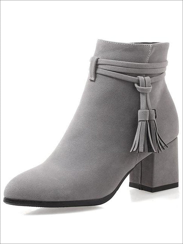 Womens Fall Square Heel Tassel Boots - Grey / 3 - Womens Boots