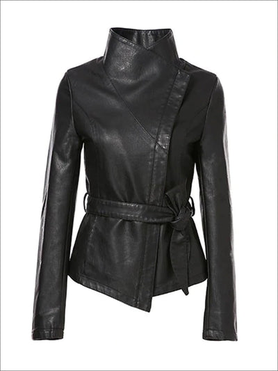 Womens Fall Synthetic Leather Flip Collar Jacket ( 5 Color Options) - Black / S - Womens Fall Outerwear