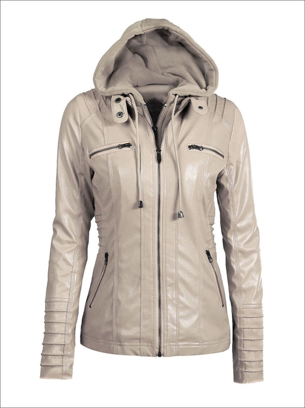 Womens Fall Synthetic Leather Hooded Moto Jacket - Beige / S - Womens Fall Outerwear