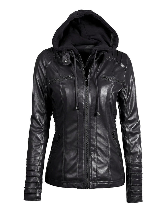 Womens Fall Synthetic Leather Hooded Moto Jacket - Black / S - Womens Fall Outerwear