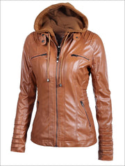 Womens Fall Synthetic Leather Hooded Moto Jacket - Brown / S - Womens Fall Outerwear