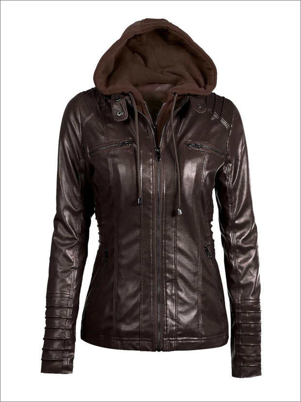 Womens Fall Synthetic Leather Hooded Moto Jacket - Dark Brown / S - Womens Fall Outerwear
