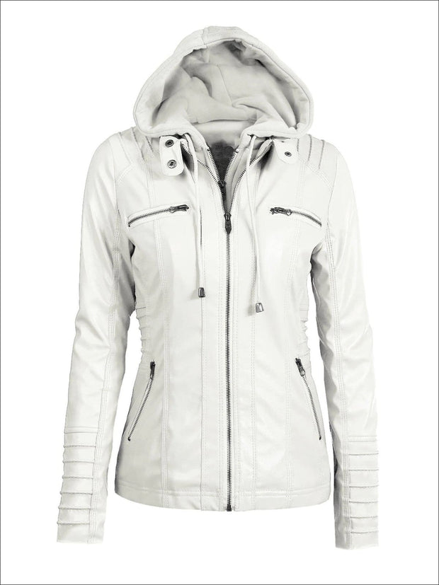 Womens Fall Synthetic Leather Hooded Moto Jacket - White / S - Womens Fall Outerwear