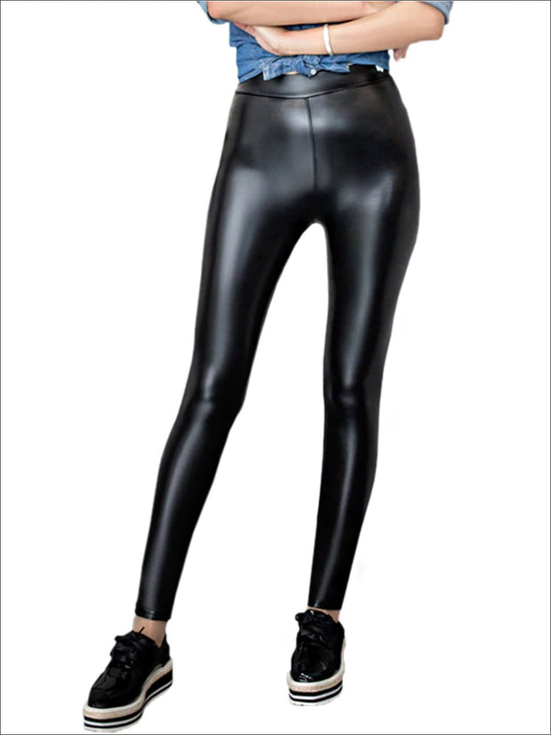 Womens Fall Synthetic Leather Leggings - Womens Bottoms
