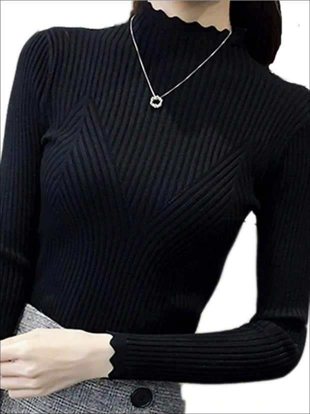 Womens Fall Trendy Knit Turtleneck Sweater - Black / One Size - Womens Fall Sweaters