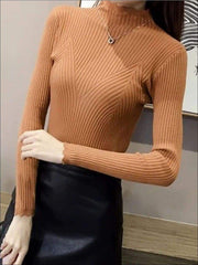 Womens Fall Trendy Knit Turtleneck Sweater - camel / One Size - Womens Fall Sweaters