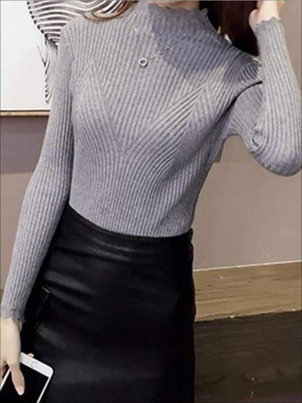 Womens Fall Trendy Knit Turtleneck Sweater - Gray / One Size - Womens Fall Sweaters