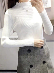 Womens Fall Trendy Knit Turtleneck Sweater - White / One Size - Womens Fall Sweaters