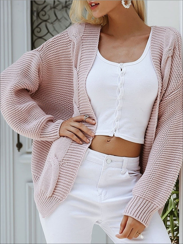 Womens Fall Twist Knitted Casual Cardigan - Womens Fall Outerwear
