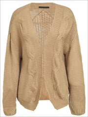 Womens Fall Twist Knitted Casual Cardigan - Brown / One Size - Womens Fall Outerwear