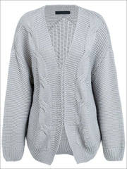 Womens Fall Twist Knitted Casual Cardigan - Grey / One Size - Womens Fall Outerwear