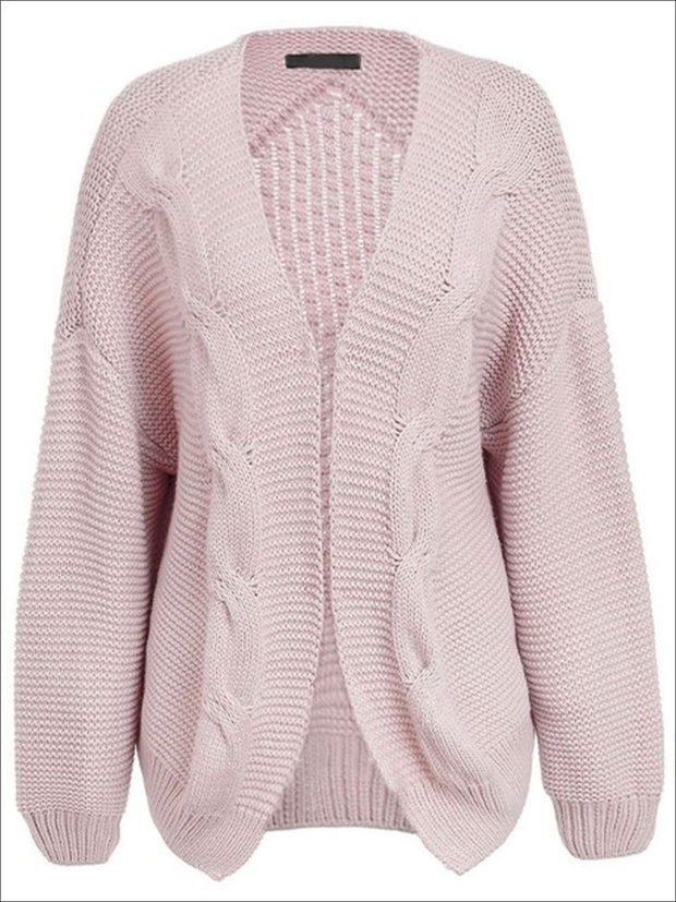 Womens Fall Twist Knitted Casual Cardigan - Pink / One Size - Womens Fall Outerwear